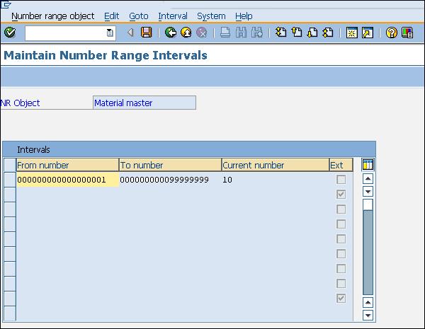 Диапазон номеров SAP определяет интервал
