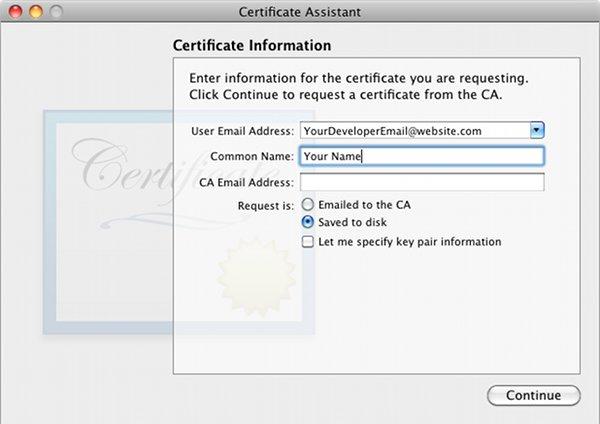 Self Sign Сертификат развития iPhone