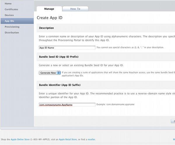 Приложения на iPhone Создать идентификатор приложения