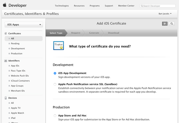 Выберите тип сертификата