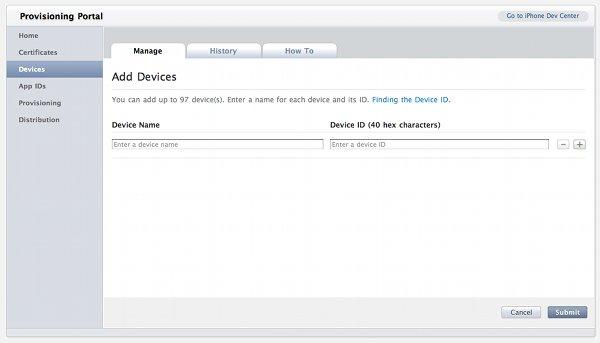 Приложения на iPhone Добавить устройство UDID