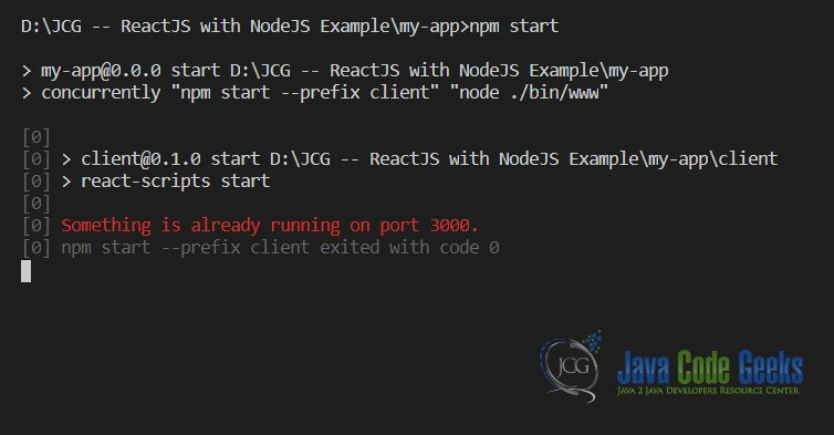 ReactJS с NodeJS - Ошибка запуска проекта